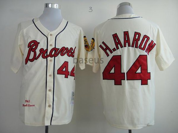 best sneakers 6353a 7ec65 2019 Throwback Atlanta Braves 44 Hank Aaron 1957 Retro Cream Mens Mlb  Baseball Jerseys With Zipper By M&N From Baseus, $14.22 | DHgate.Com