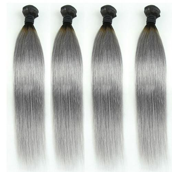 Brezilyalı Saç Bakire 3 adet lot ucuz çin saç ombre örgü uzatma atkı atkı 1B / gri Remy Işlenmemiş 8-30 inç Hint saç düz