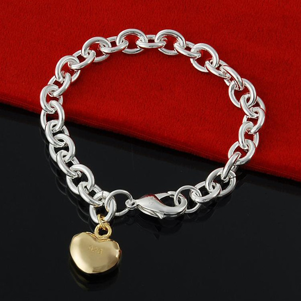 5PCS/Lot Free Shipping Factory direct 925 Sterling Silver lobster Xiao Bu Gold Bracelet Silver Jewelry charm bracelet mens bracelet