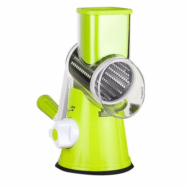 Trituradora de vegetales inoxidable Mano Rallador rotatorio Trituradora de patatas Forma de rodillo de acero inoxidable Manivela Mango Caliente Nuevo