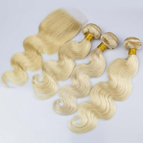 Hot Sale Blonde Hair Weave With Closure 4X4 Free Middle 3Way Part Brazilian Human Hair Body Wave With Lace Closure 4Pcs Lot