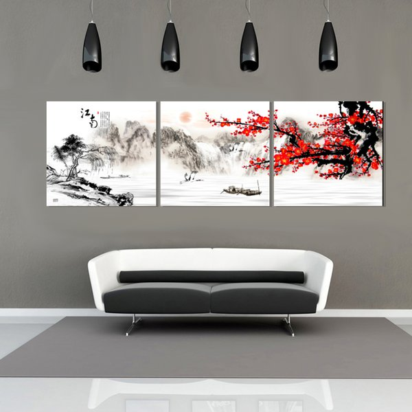 Free shipping unframed 3Pieces picture Canvas Prints Chinese style oil painting Plum mountain ship characters Apple tea waterfall Lotus tree