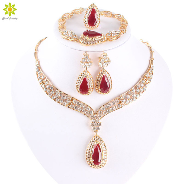 Women Fashion African Beads Necklace Earrings Set Water Drop Gold Plated Jewellery Set For Bridesmaid Dubai Jewelry Sets