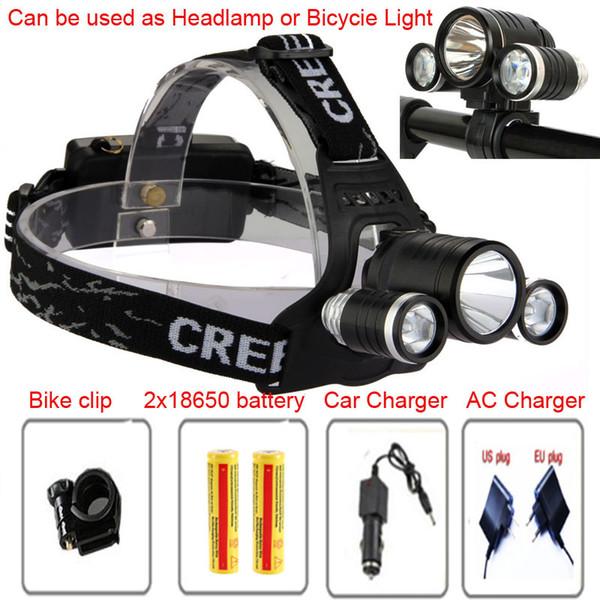 bicycle light 3T6 3 X CREE XML T6 LED Headlamp Headlight Flashlight 6000 Lumens bike light+charger+ car charger+18650 battery