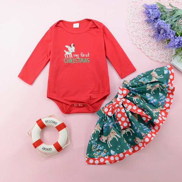Christmas baby girl dress romper dot skirt 2 pieces set deer XMAS tutu dresses red cotton jumpsuit long sleeve kid clothing toddler clothes