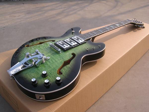 best selling A New Brand electric guitar jazz guitar see thru dark green!