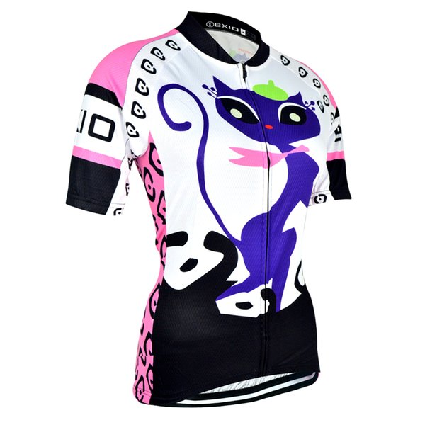 BXIO Brand Summer Short Sleeve Cycling Jersey Quick Dry Breathable Women Bikes Clothes Ropa Ciclismo Kitten Pattern Bicycle Jersey BX-044