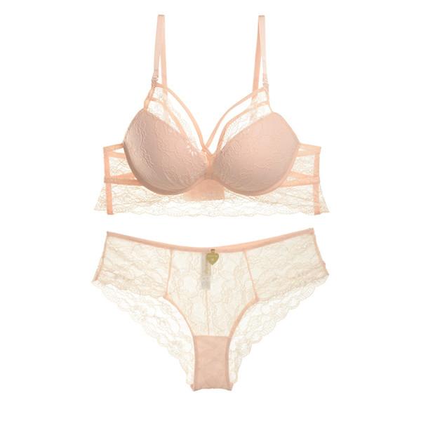 Romantic full lace thin cup lingerie Euramerican sexy deep-v women push up bra sets girls transparent panties big size ABC 32-38