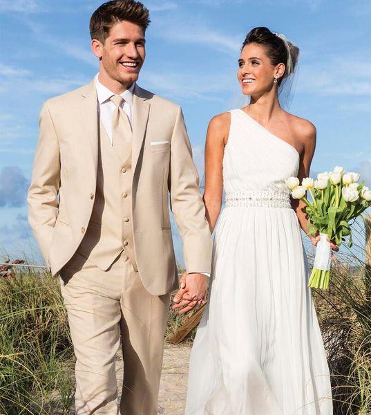 Groom Tuxedos Best Man Suit Wedding Beige Suits Custom Made Suits for Beach Wedding Grooms Groomsmen (Jacket+Pants+Vest+tie)