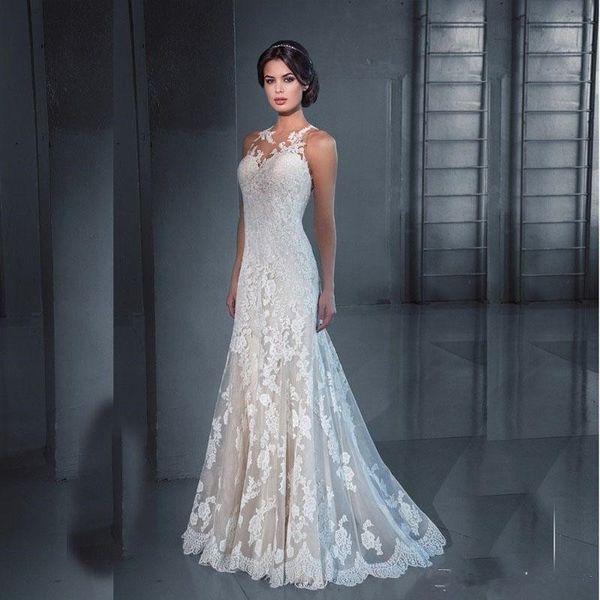 Pnina Tornai Mermaid Lace Wedding Dresses 2017 Jewel Neck Appliques ...