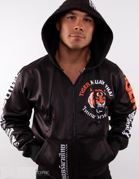 Winter Mens Hoodies Sports Muay Thai Fighting Zipper Hoodie Jacket Jumper MMA Hoodie Suit Hombre Notbrand Fleece