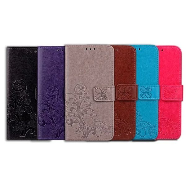 Lucky Grass Flower Wallet Leather Pouch Case For Samsung Galaxy C5 C7 Huawei Nexus 6P Nokia Lumia 535 Strap Clover Stand TPU Card Slot Cover