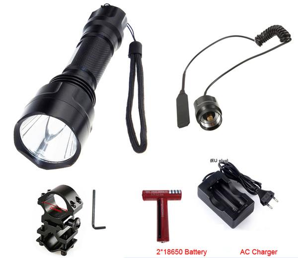 C8 t6 xml-t6 5 2000 lm LED Fahrrad Taschenlampe + Clip + Remote Druckschalter + 2 * 18650 Batterie + Ladegerät