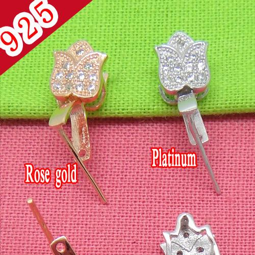 Factory Price-Min 5piece,100% Real 925 Pure Silver,Rose Gold-Platinum Plated 13.72*5.43mm Flower-shaped Pendant Clip Jewelry