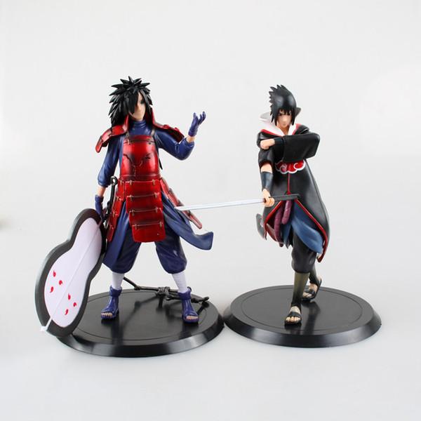 Yüksek Kalite 2 adet / takım 18 cm Naruto Uchiha Madara Sasuke pvc action figure oyuncaklar Naruto şekil Model Oyuncaklar