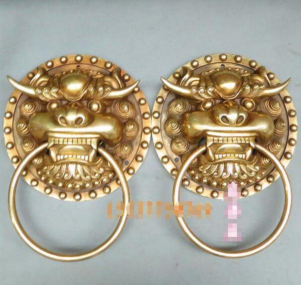 Seiko open bronze large lion head door ring a pair of pepper door buckle bronze ornaments