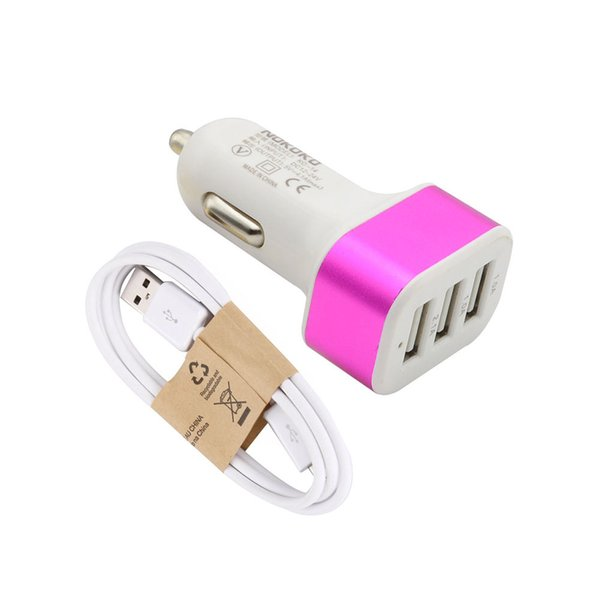 Colorful new Smart Car Charger wih USB Cable set High material Car charger kit in hotsell