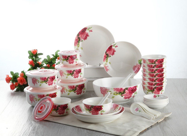 32 Piece Ceramic Dinnerware Tableware Set China Cutlery Plates Bowls Dinner  Service Cooking Storage Free