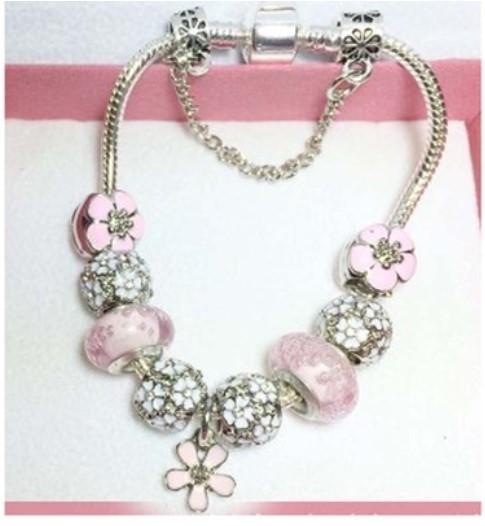 925 Sterling Silver Purple Murano Glass Beads Charm Stopper Buckle Flower Pendant Bead Fit Women Pandora Bracelet Bangle Diy Jewelry