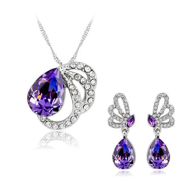 Demoiselle d'honneur joli ensemble boucle d'oreille collier pendentifs Swarovski australien cristal bijoux africain mode bijoux indiens ensemble parti bijoux ensemble