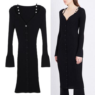Free Shipping 2017 Black V Collar Long Sleeves Long Pullover Women Brand Same Style Shoulder Pearls Bodycon Knitting Dress Women DH305