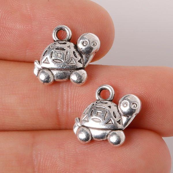 Free shipping 7pcs 11x12mm Zinc Alloy Antique Silver Tortoise DIY Charms Pendants jewelry making DIY