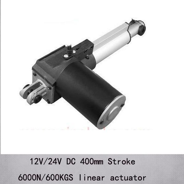 "16""/400mm stroke 6000n/600kgs max load capacity linear actuators with 5mm/s speed and dc 12v/24v"