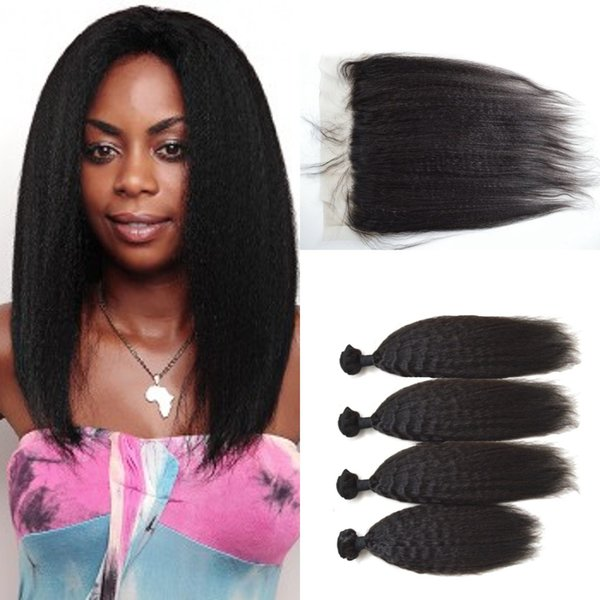 G-EASY Kinky Straight Lace Frontal Closure With Human Hair Weave Bundles Unprocessed Human Hair Extensions 8-30inch