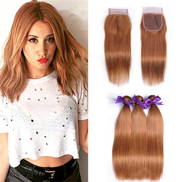 Pure Colored 30 Straight Lace Closure mit Haarbündeln Hellblondes braunes reines peruanisches Haar spinnt mit Top Closure 4Pcs Lot
