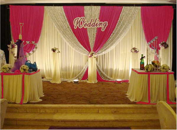Wedding decorations props 3m*6m Sequins Beads Edge Design Fabric Satin Drape wedding backdrop Curtain Party Stage Celebration Favors