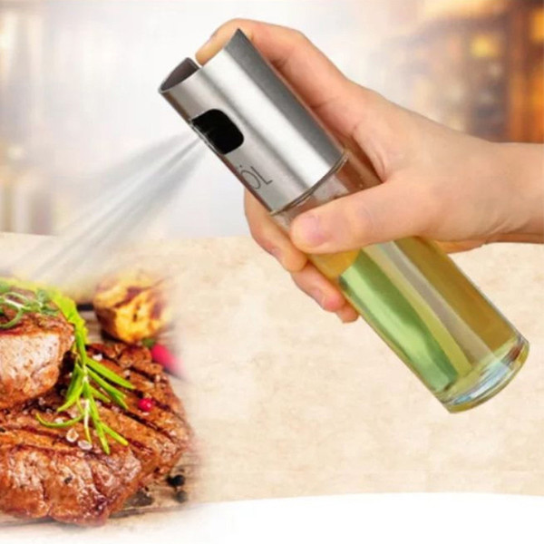 Glass Olive Spraying Oil Bottle Sprayer Stainless Steel Edible Oil Pot Leak-proof Drops Spice Jar Seasoning Kitchen Tools