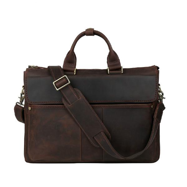 Wholesale- Aolen Crazy Horse Genuine Leather Men Bag Men Messenger Bags Vintage Business Briefcases Laptop Bags Men's Leather Laptop Bag