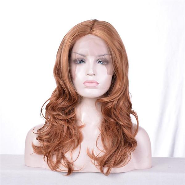 kabell Moda afro-americana parrucche parrucche anteriori in pizzo marrone chiaro colori misti capelli ricci capelli misti lungo 22 pollice anteriore del merletto parrucca riccioli parrucca