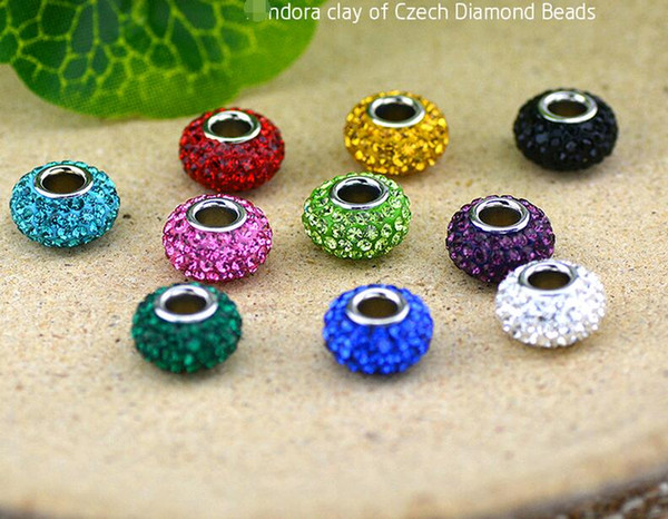 top popular Shamballa Multicolor Resin Rhinestones Beads High Quality 925 Sterling Silver Clay Crystal Loose Beads Fit European Bracelets DIY Jewelry 2021