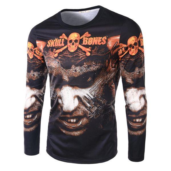 2016 personalidad dominante Sku huesos de impresión 3D de manga larga T-shirt trajes de los hombres de moda T-shirt marea