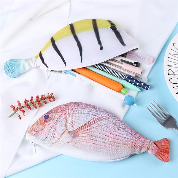 Nuovi 4 stili Sacchetto di matita a forma di pesce di mare unico Corea scatola di matita personalità studente forniture sacchetto di cancelleria IA797