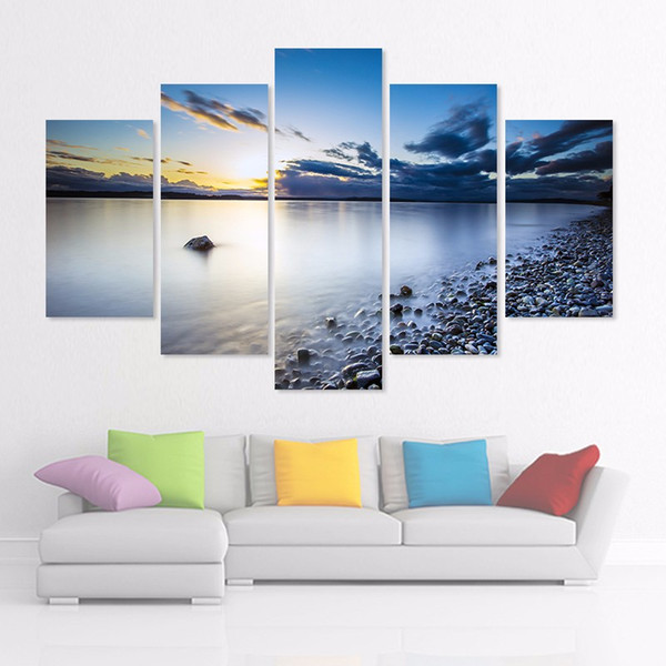 Big size 5pcs/set sea lake sun decoration stones wall art pictures landscape dark blue sky Canvas Painting living room unframed