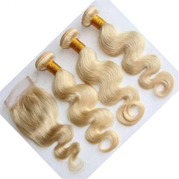 9A Malaysian Blonde Body Wave Human Hair With Closure 4Pcs Lot Free Part #613 Blonde 4x4 Lace Top Closure With Malaysian Weave Bundles