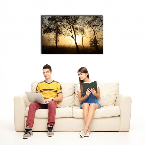 1 Picture Combination E-HOME Art Wall Stretched Canvas Art Tree Under The Setting Sun Impression Decoration Oil Painting