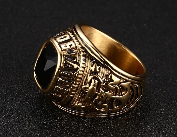 Titanium Steel Men Punk Ring Vintage Jewelry Carved Geometric Hipsters IP Gold Plated Rhinestones High Polished Accessories Size 8-11