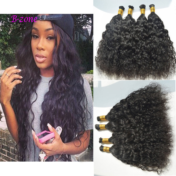 top popular Top Quality Brazilian Hair 3 or 4pcs Human Hair Braids Bulk natural Wave No Weft Wet And Wavy Braiding Bulk Hair Water Wave 2019