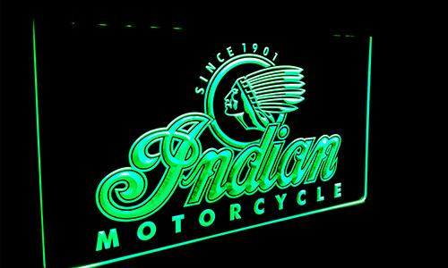 LS087-g Indian Motorcycle Services Logo Neon Light Sign