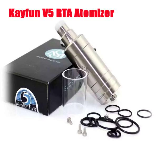 Le plus récent Kayfun V5 RTA Atomizer 316 Inoxydable RBA Top Bottom Tank de remplissage Clone Kayfun cinq V3 V4 Mini Vapor Box Mods DHL ATB513