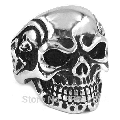 Free Shipping! 2015 Fashion Ring Vintage Jewelry Gothic Skull Biker Ring Stainless Steel Men Ring Wholesale SWR0082B