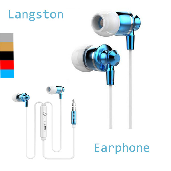Extrabass power in ear Definition 3.5mm Plug Metal Headphone Headset Langston M300 Metal Earphone with mic iphone 6 Cellphone DHL EAR185
