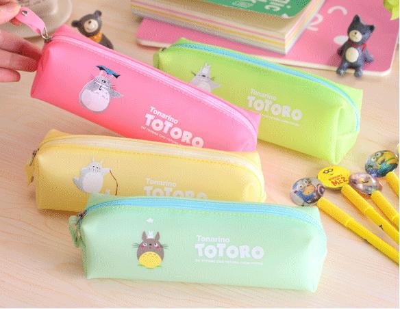 Wholesale- Kawaii NEW 20*5CM 4Colors Choice- TOTORO School Kids Pen Pencil BAG Case BAG Lady Girl's Cosmetics Purse BAG & Wallet Pouch