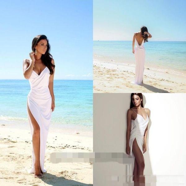 top popular Sexy Deep V Neck Beach Wedding Dresses Spaghetti Straps Side Split Bridal Gowns White Chiffon Open Back Sheath Column Summer Cheap Dress 2019