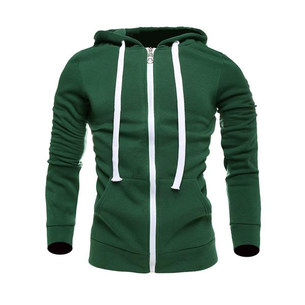 Fall-2018 New Mens Plain Hoodie Fleece Sweatshirt Hooded Coat Jumper Zip Jacket wholesale freeshipping coat fashion women coat