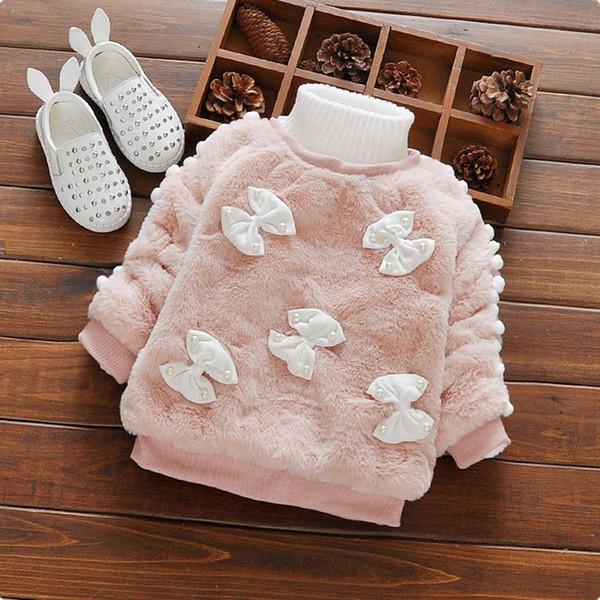 Toptan-Çocuk Giyim 2016 Yeni Sonbahar Kış Hoodies Tişörtü Bebek Kız Bebek Kız Sıcak Kesim Yay Tasarım Kalınlaşmak Toddler Bebek Giyim