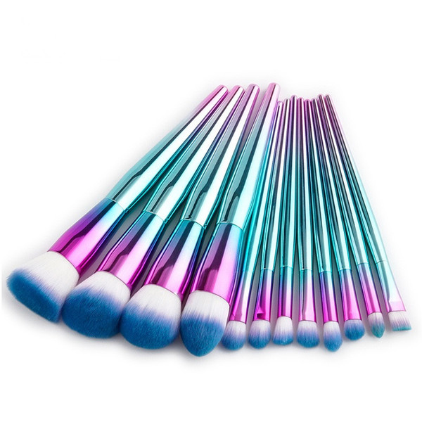 12 Unids Rainbow Brush Pinceles de Maquillaje de Metal Brillo Brillo de Maquillaje de Maquillaje de Pelo Sintético Profesional Cepillo Cosmético Kit de Herramientas